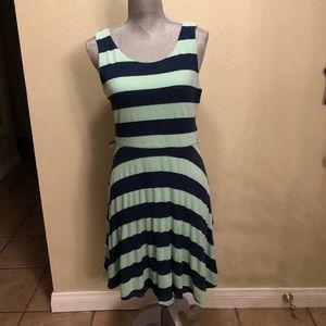 ModCloth Nautical Mint & Navy Striped Dress L